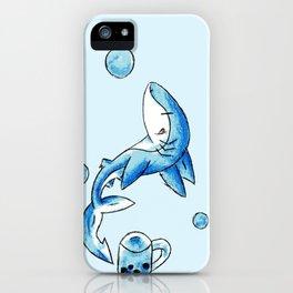 Blue Bubble Shark iPhone Case