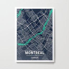 Montreal Blue Dark Color City Map Metal Print