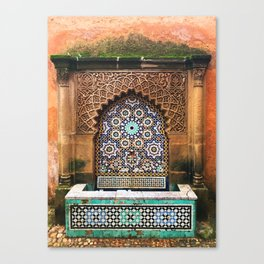 Moroccan water fountain turquoise Canvas Print