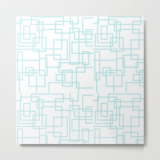 Geometric abstract pattern - light aqua Metal Print