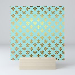 Royal gold ornaments on aqua turquoise background Mini Art Print
