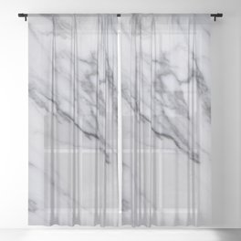 Marble - Black and White Gray Swirled Marble Design Sheer Curtain