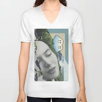 postcard V-neck T-shirts featuring Postcard #22 by Jon Duci