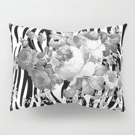 Vintage elegant black white floral zebra animal print collage Pillow Sham