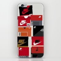 sneaker iPhone & iPod Skins featuring SNEAKER HEAD RED by RickART