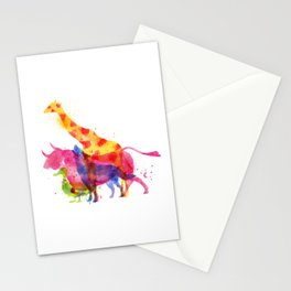 Colorful animals overprint Stationery Cards
