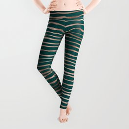 Teal & Bronze Stripe Pattern Leggings