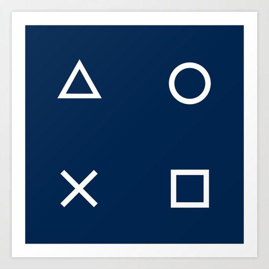 Gamepad Symbols Pattern - Navy Blue by xooxoo