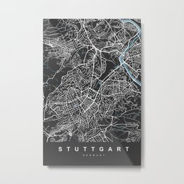 STUTTGART City Map | Germany | Black | More Colors, Review My Collections Metal Print