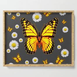 YELLOW MONARCH BUTTERFLIES WHITE DAISIES ON GREY Serving Tray