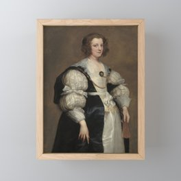 Lady with a Fan Oil Painting by Sir Anthony van Dyck Framed Mini Art Print
