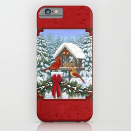 Red Cardinals and Christmas Bird Feeder iPhone Case