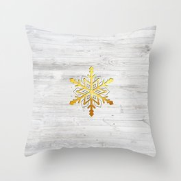 Snow in Gold Throw Pillow