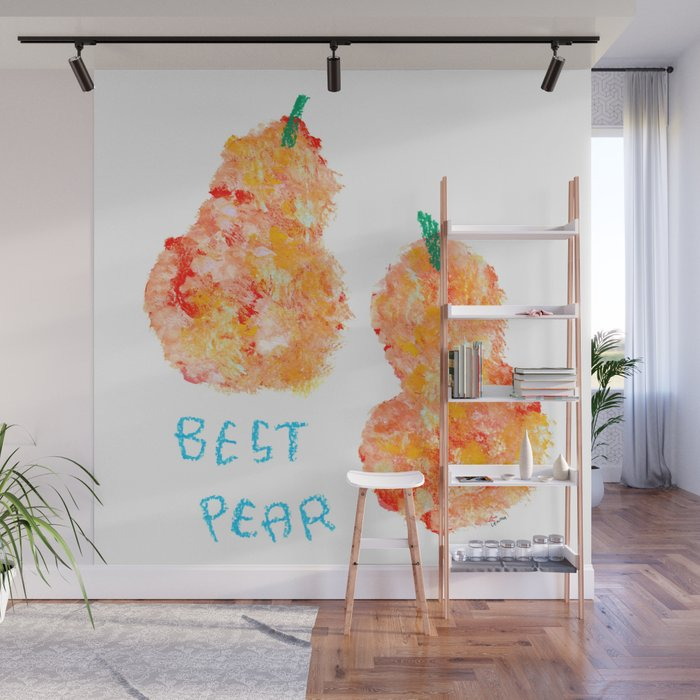 Best Pear Fruit Painting Love Quote Couple Wall Mural By Lennaarty