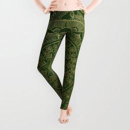 Mandala Royal - Green and Gold Leggings
