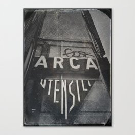 Bologna B&W Street Photography Vintage Shop Sign Canvas Print