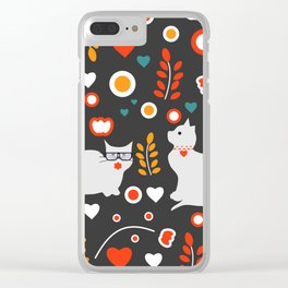 Valentine decor with cats Clear iPhone Case