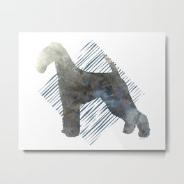 Modern Airedale Terrier Dog Watercolor Stripes Metal Print