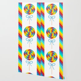 candy lollipop with bow, colorful spiral candy cane Wallpaper