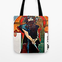 mucha Tote Bags featuring Alfons Mucha - Medea by Ouijawedge