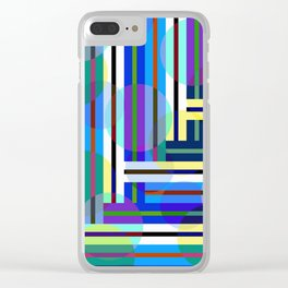 Spheres and Plaid - Blue Clear iPhone Case