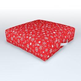 Velvet Red & White Christmas Snowflakes Outdoor Floor Cushion