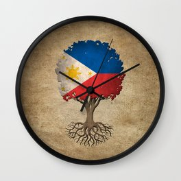 Vintage Tree of Life with Flag of Philippines Wall Clock