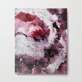 Maroon and White Abstract Painting Metal Print