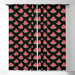 Cute Watermelon Pattern (Black) Blackout Curtain