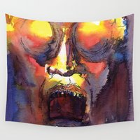 fear Wall Tapestries featuring Fear  by Stevyn Llewellyn