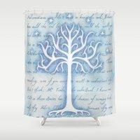 gondor Shower Curtains featuring Tree of Gondor by JadeJonesArt