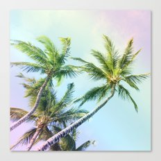 Relaxing Rainbow Color Palms Canvas Print