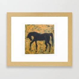 Shadow Horse on Yellow Framed Art Print