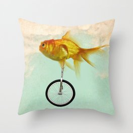 unicycle goldfish 02 Throw Pillow