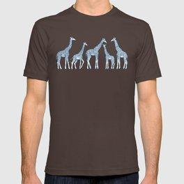 Navy Blue Giraffes on White T-shirt