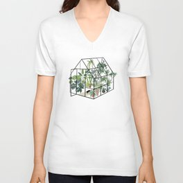 greenhouse with plants Unisex V-Neck