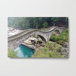 The Romantic Bridge, Ponte dei Salti, Lavertezzo, Switzerland River Verzasca photograph Metal Print