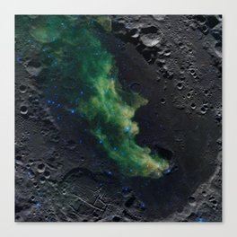 The Witch's Mirror The Dark Side Of The Moon (Mare Moscoviense & Witch Head Nebula) Canvas Print