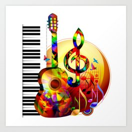 Colorful  music instruments painting, guitar, treble clef, piano, musical notes, flying birds Art Print