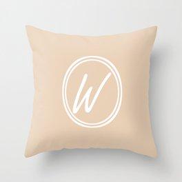 Monogram - Letter W on Pastel Brown Background Throw Pillow