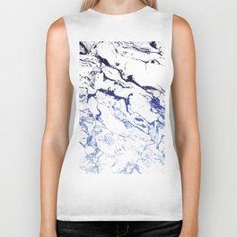 Modern white marble blue ombre navy blue watercolor gradient fade Biker Tank