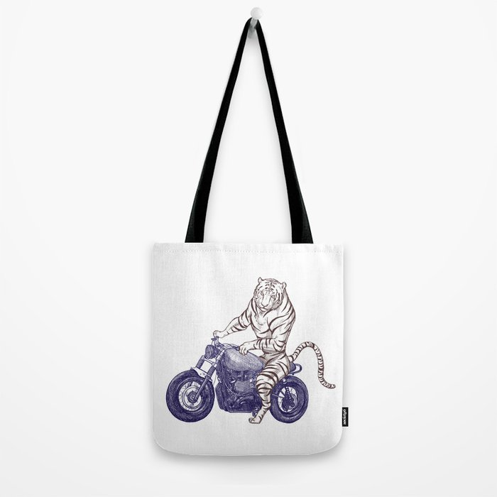 Tiger on a Motorcycle Tote Bag