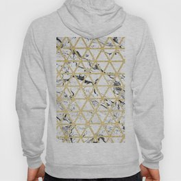 Stylish white marble faux gold glitter triangles pattern Hoody