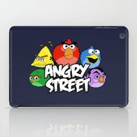 sesame street iPad Cases featuring Angry Street: Angry Birds and Sesame Street Mashup by Olechka