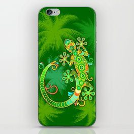 Gecko Lizard Colorful Tattoo Style iPhone Skin