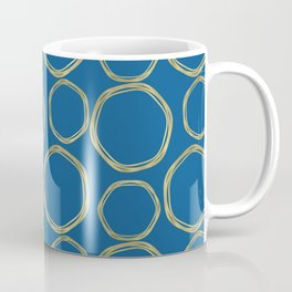 Bright Blue & Gold Circles Modern Pattern Coffee Mug