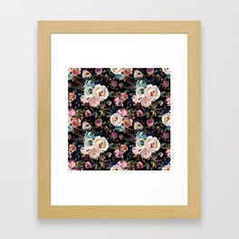 Blush pink teal lilac ivory watercolor modern roses Framed Art Print