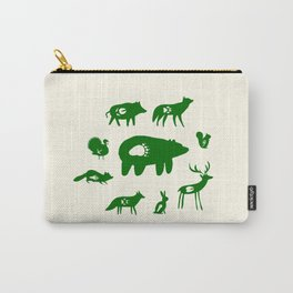Nature Trail in Forest Green and Cream Carry-All Pouch