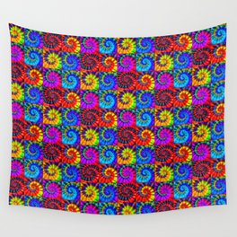 Spiral Tie Dye Checkerboard Wall Tapestry