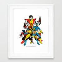 x men Framed Art Prints featuring X-MEN by Şemsa Bilge (Semsa Fashion)